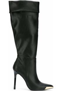 Versace Jeans Couture Bota Cano Alto Com Bico Fino - Preto