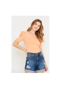 Blusa Feminina Modal Decote Redondo Lisa Laranja