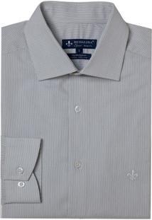 Camisa Dudalina Manga Longa Fio Tinto Maquinetada Listrado Masculina (Listrado, 45)