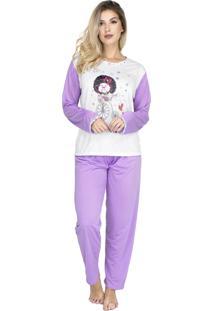 Pijama Longo Bravaa Modas Feminino 010 Lilás