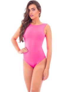 Body Moda Vicio Regata Com Decote Costas - Feminino-Pink+Rosa