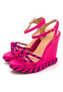 Sandália Anabela Salto Alto Em Napa Pink Com Tranças Azul E Pink