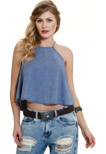 Blusa Feminina Em Jeans Alças Finas Marisa