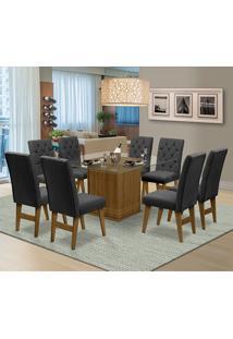 Mesa Para Sala De Jantar Saint Louis Com 8 Cadeiras – Dobuê Movelaria - Mell / Chumbo
