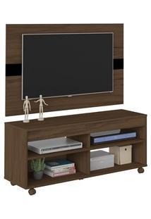 Rack Bancada Com Painel Para Tv Até 47 Pol. Cross Amêndoa/Preto - Arte