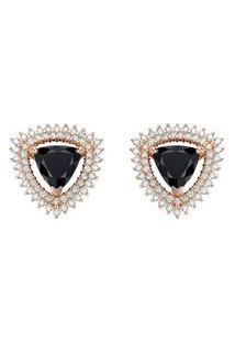Brinco Ouro Rosé Quartzos Negros E Diamantes