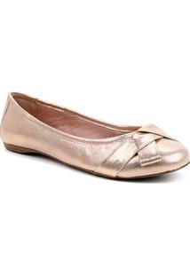 Sapatilha Couro Shoestock Camurça Metalizada Laço Feminina - Feminino-Rosa