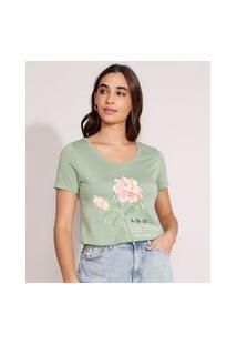 "Camiseta Afeto"" Manga Curta Decote Redondo Verde"""