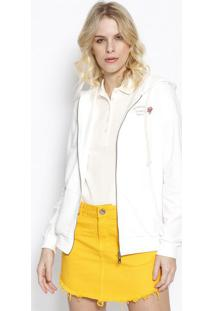 Jaqueta Em Moletinho Com Capuz- Off White- Sommersommer