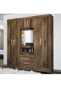Guarda-Roupa Casal 7 Portas Com Espelho Grafite Canela Rústico - Colibri Móveis