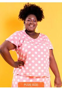 Blusa Decote V Charlotte Poá Rosa Plus Size