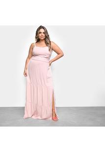 Vestido Cambos Plus Size Longo - Feminino-Rosa