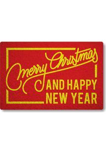 Capacho Merry Christmas And Happy New Year Ii - Vermelho