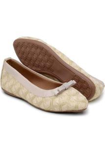 Sapatilha Gomes Shoes Renda Bico Fino Feminina - Feminino-Bege