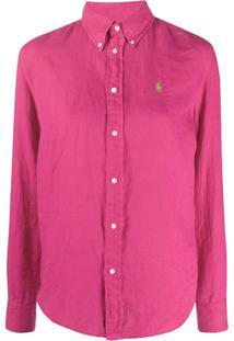 Polo Ralph Lauren Camisa Com Logo E Abotoamento - Rosa
