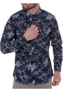 Camisa Amil Manga Longa Masculina - Masculino-Marinho