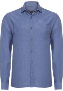 Camisa Masculina Tecido Binado - Azul