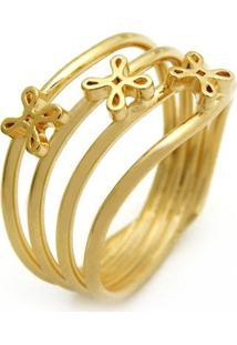 Anel Sofia Horus Import Com Quatro Fios Banhado Ouro Amarelo