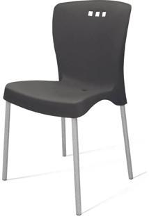 Cadeira Mona Base Aluminio Polido Cor Preto