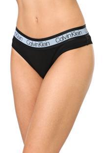 Calcinha Calvin Klein Underwear Tanga Logo Preto/Azul