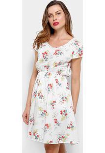 Vestido Pérola Floral Evasê - Feminino-Branco