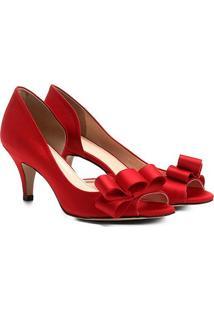 Peep Toe Shoestock Cetim Laço - Feminino