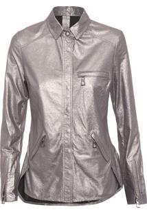 Camisa Feminina Couro New Land Metálico - Prata