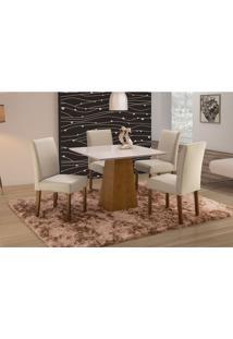 Conjunto De Mesa De Jantar Com 4 Cadeiras E Tampo De Madeira Maciça Turquia I Suede Creme E Off White