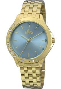 Relógio Allora Pérolas E Cristais - Feminino-Dourado+Azul