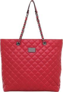 Bolsa Grande Smartbag Tiracolo Matelassê - Feminino-Vermelho