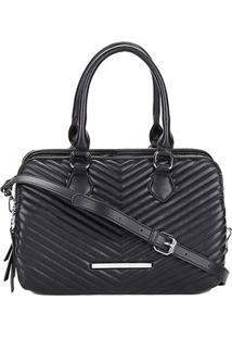 Bolsa Santa Lolla Handbag Matelassê Transversal Feminina - Feminino-Preto+Prata