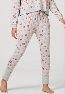 Calça Pijama Feminina Em Poliéster E Elastano