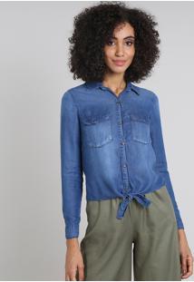 Camisa Jeans Feminina Com Bolsos E Nó Manga Longa Azul Médio