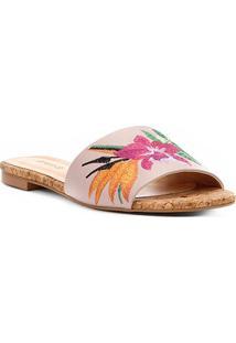 Rasteira Shoestock Slide Bordado Floral