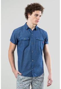 Camisa Jeans Reserva Mc Enxuto Murere Masculina - Masculino-Azul