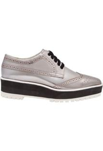 Oxford Flatform Silver Vinci Shoes - Prata