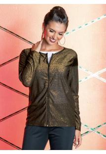 Jaqueta Preta E Dourada Com Fios Metalizados