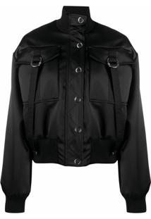 Just Cavalli Satin Bomber Jacket - Preto