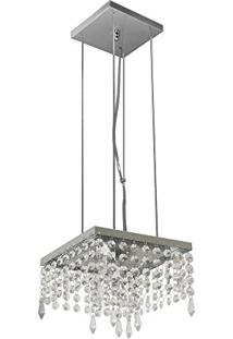 Pendente De Cristal - 03 Lâmpadas - Aluminio Escovado