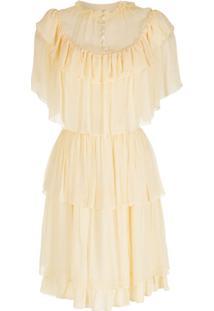 Nk Vestido De Seda Babados - Amarelo