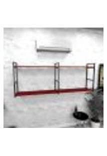 Estante Industrial Escritório Aço Cor Preto 180X30X68Cm Cxlxa Cor Mdf Vermelho Modelo Ind36Vres