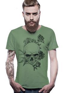 Camiseta Joss Estonada Corte À Fio Caveira Florida - Verde