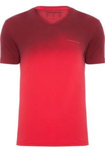 Camiseta Masculina Ckj Decote V Degrade Logo Peito - Vermelho