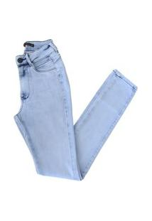 Calça Miller Jeans Com Bolso Vazado Estilosa Modela O Bumbum Azul Claro