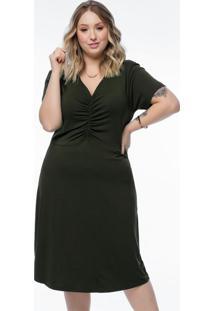 Vestido Plus Size Verde Militar Franzido