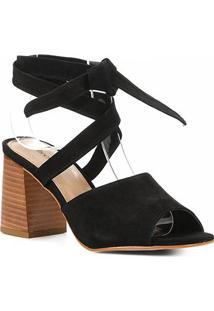 Sandália Shoestock Nobuck Lace Up Salto Bloco Feminina - Feminino-Preto