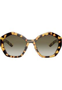 Prada Eyewear Armação De Óculos Oversized Com Efeito Tartaruga - Preto