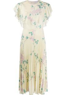 Redvalentino Vestido Com Pregas E Estampa Floral - Amarelo