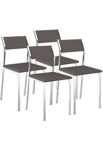 Cadeira 1709 Cromada 04 Unidades Napa/Cacau Carraro