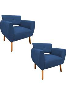 Kit 02 Poltronas Decorativa Josy Linho Azul Marinho A77 Pés Palito - D'Rossi